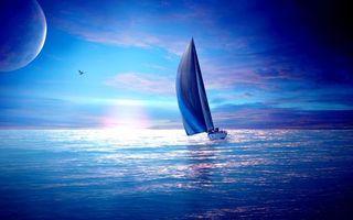Фото бесплатно парусник, океан, птица