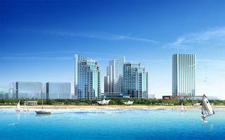 Photo free houses, skyscrapers, beach