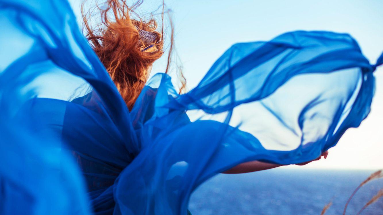 Фото бесплатно голубое, платье, девушка - на рабочий стол