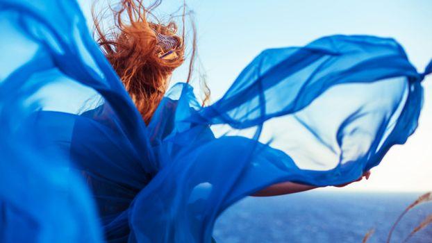 Заставки голубое, платье, девушка