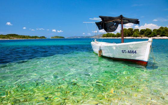Заставки лагуна, лодка, пляж
