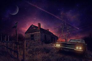 Бесплатные фото ночь,луна,старый дом,автомобиль,art