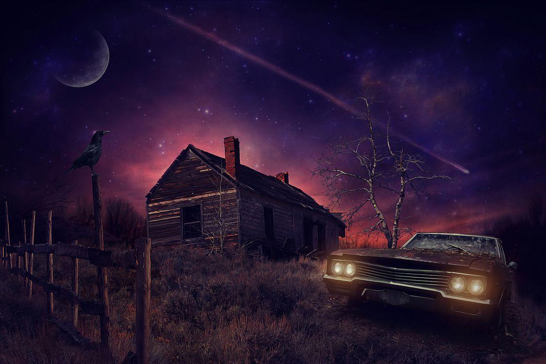 Фото бесплатно ночь, луна, старый дом, автомобиль, art, рендеринг