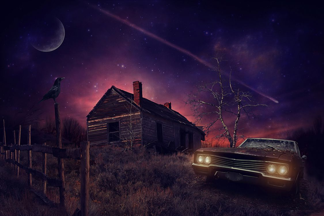 Фото бесплатно ночь, луна, старый дом - на рабочий стол