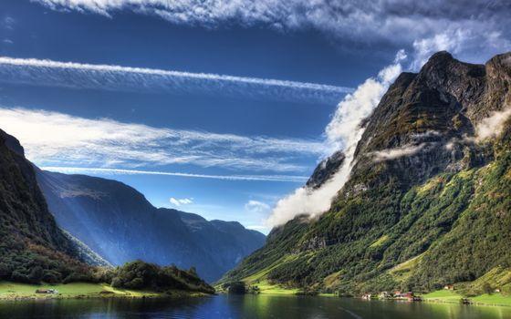 Фото бесплатно облака, растительность, домики