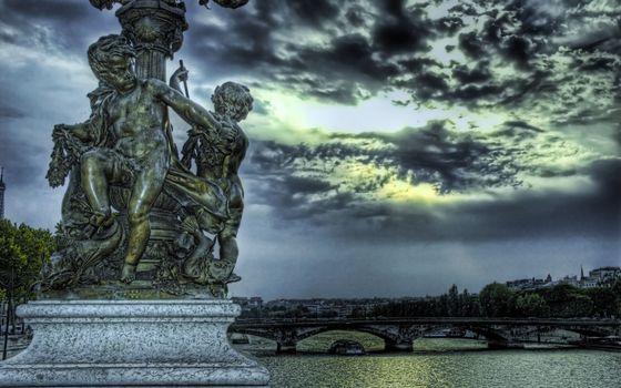 Бесплатные фото статуи,скульптура,композиция,река,судна,мост,дома