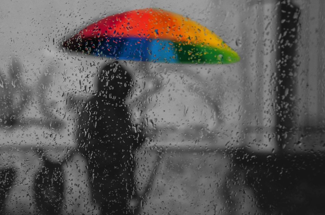 Free photo bright umbrella, glass, rain - to desktop
