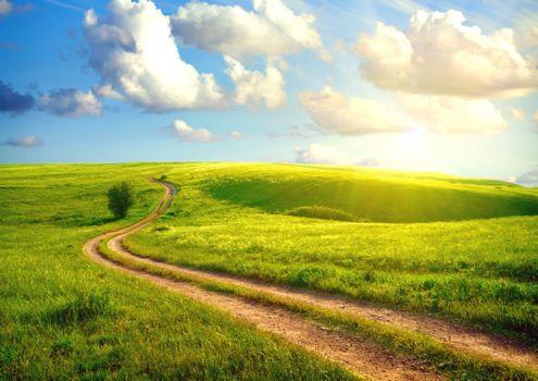Фото бесплатно дорога в поле, солнце