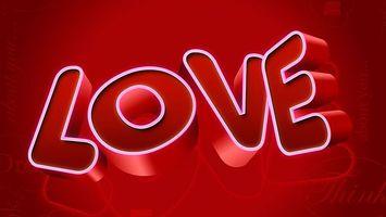 Бесплатные фото любовь, буквы, объем, надпись, красное, фон