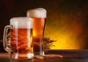 Заставки пиво, бочка, бокалы, кружки, пена, ячмень, напиток