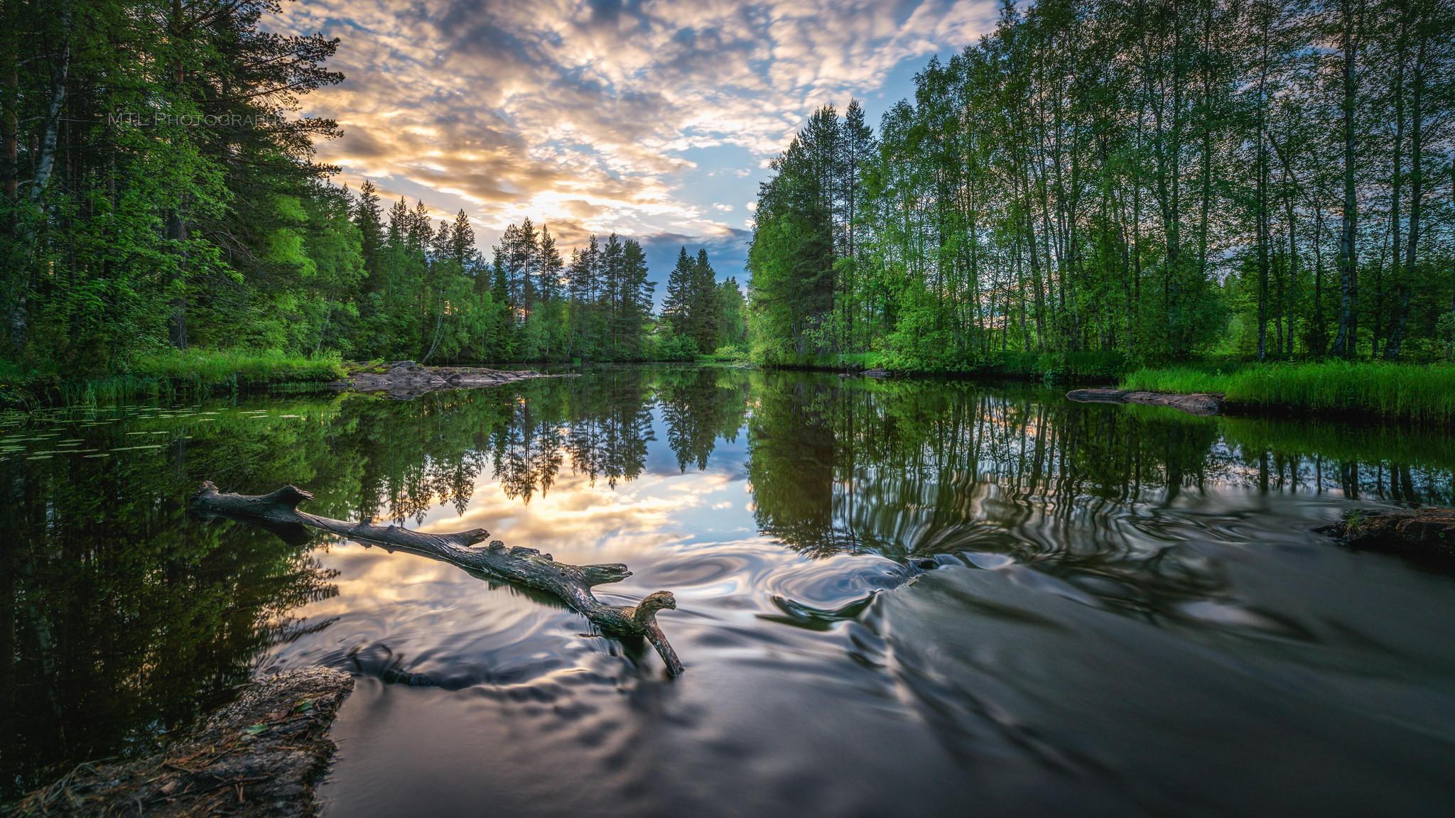обои закат, река, деревья, пейзаж картинки фото