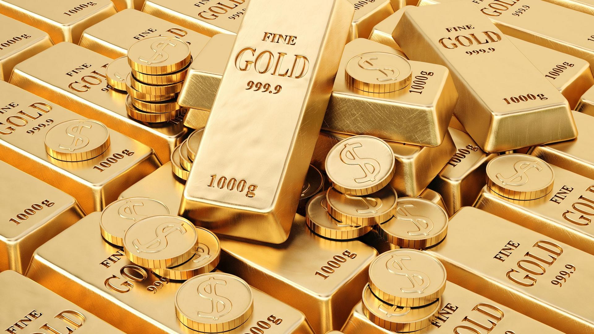 Обои золото, слитки, надписи, проба