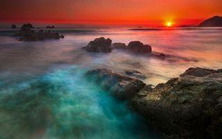 Бесплатные фото закат,туман,вода,скалы,море