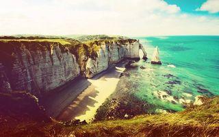 Фото бесплатно берег моря, скала, обрыв