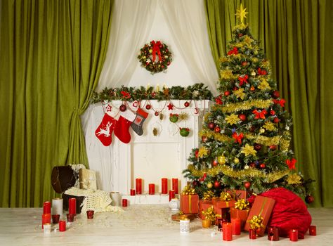 Photo free fireplace, Christmas tree, interior