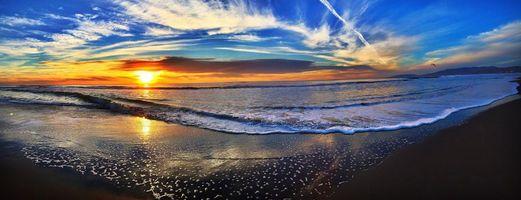 Фото бесплатно закат, море, пляж