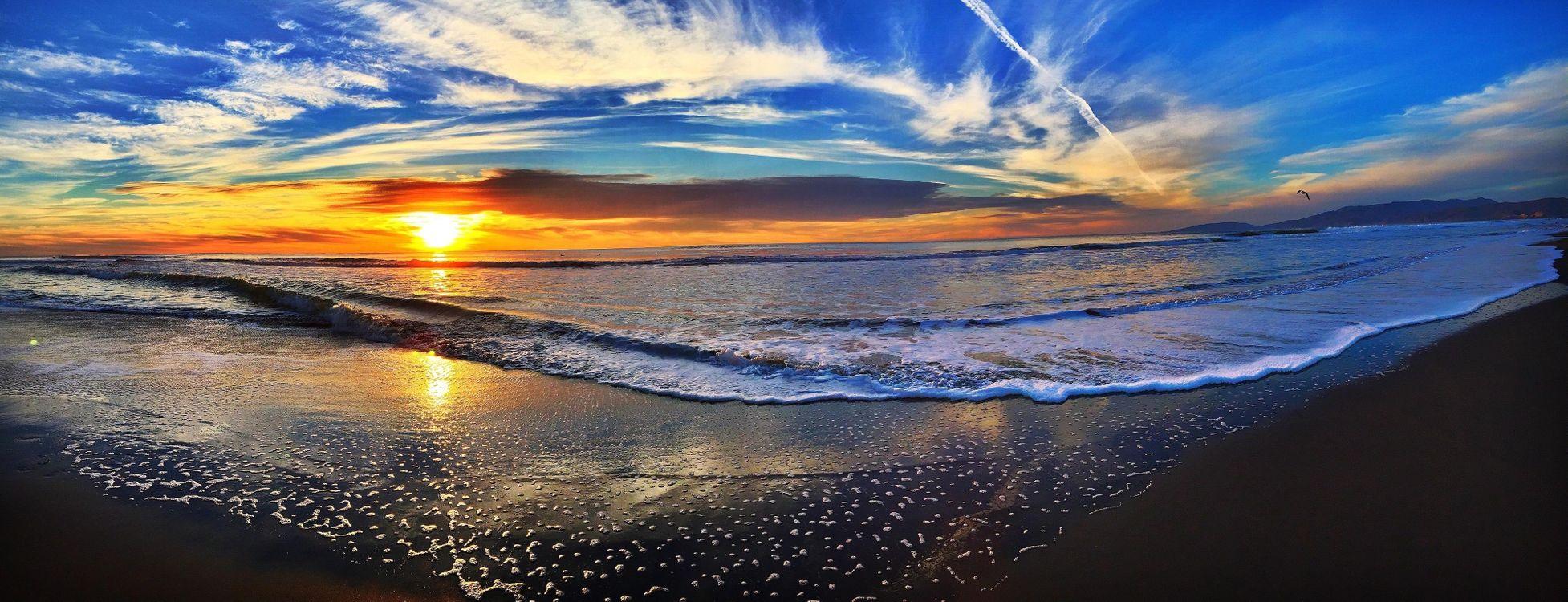 Обои закат, море, пляж картинки на телефон