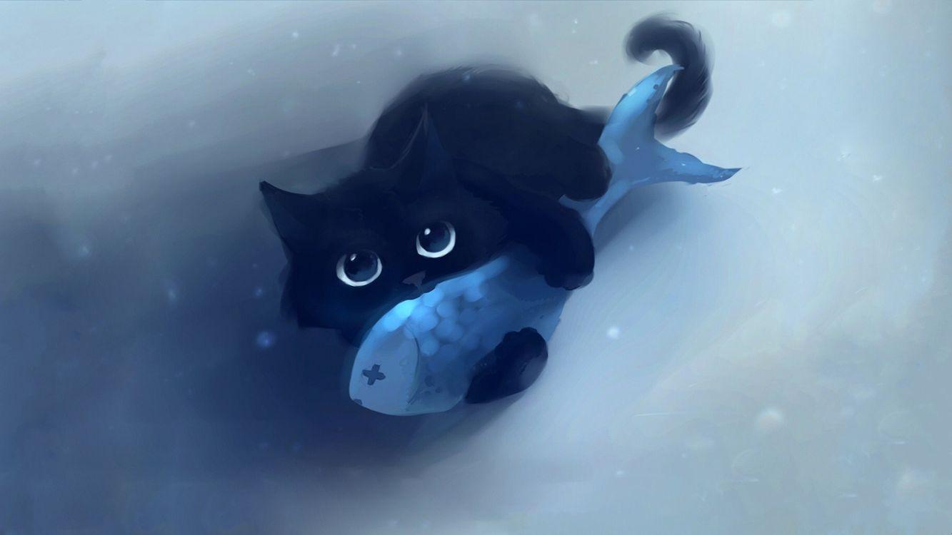 Обои кот, рыбка, рисунок на телефон | картинки рендеринг - скачать