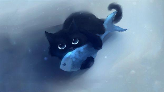 Фото бесплатно кот, рыбка, рисунок