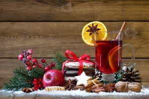 Фото бесплатно Новогодний натюрморт, чай с лимоном, фон