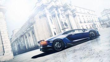 Бесплатные фото Синяя Lamborghini Aventador, суперкар, антиквариатное здание