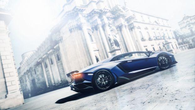 Фото бесплатно Синяя Lamborghini Aventador, суперкар, антиквариатное здание