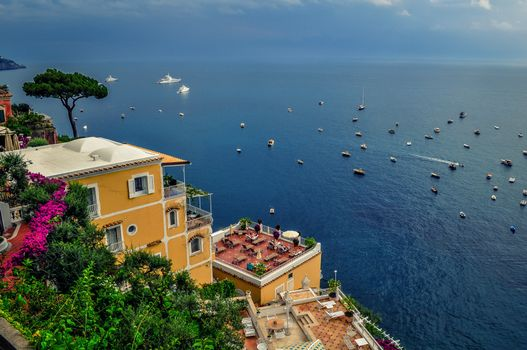 Амальфитанское побережье, море, лодки, Италия, Amalfi