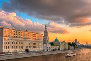 Фото бесплатно Храм Христа Спасителя, Москва, Россия, канал, здания, закат