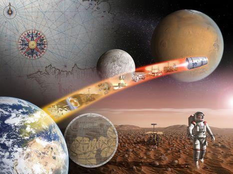 Photo free space, Earth, moon