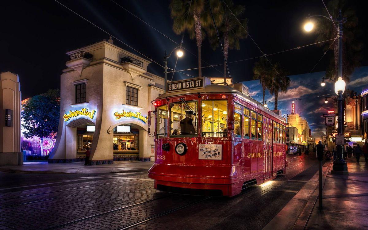 Фото бесплатно ночной трамвай, улица, дома - на рабочий стол