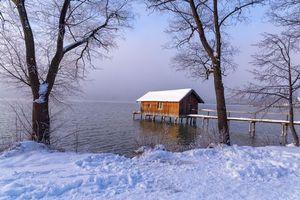 Заставки зима, озеро, мостик