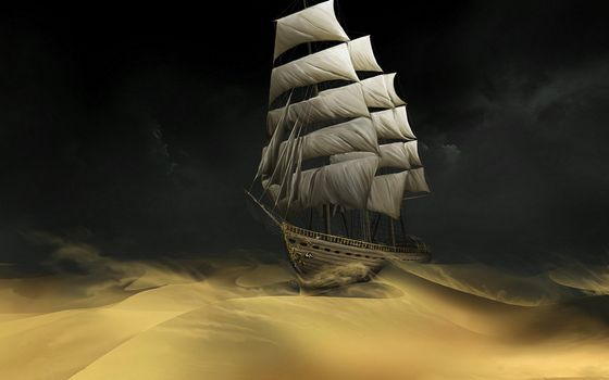 Бесплатные фото пустыня,дюны,волны,корабль,мачты,паруса