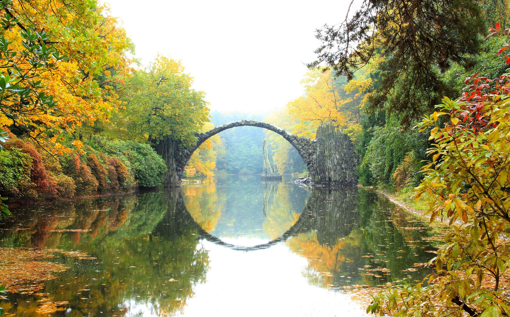 обои Rhododendronpark Kromlau, Germany, Германия, осень картинки фото