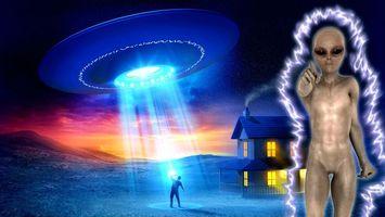 Фото бесплатно космос, пришелец, инопланетянин, летающая тарелка, дом, человек