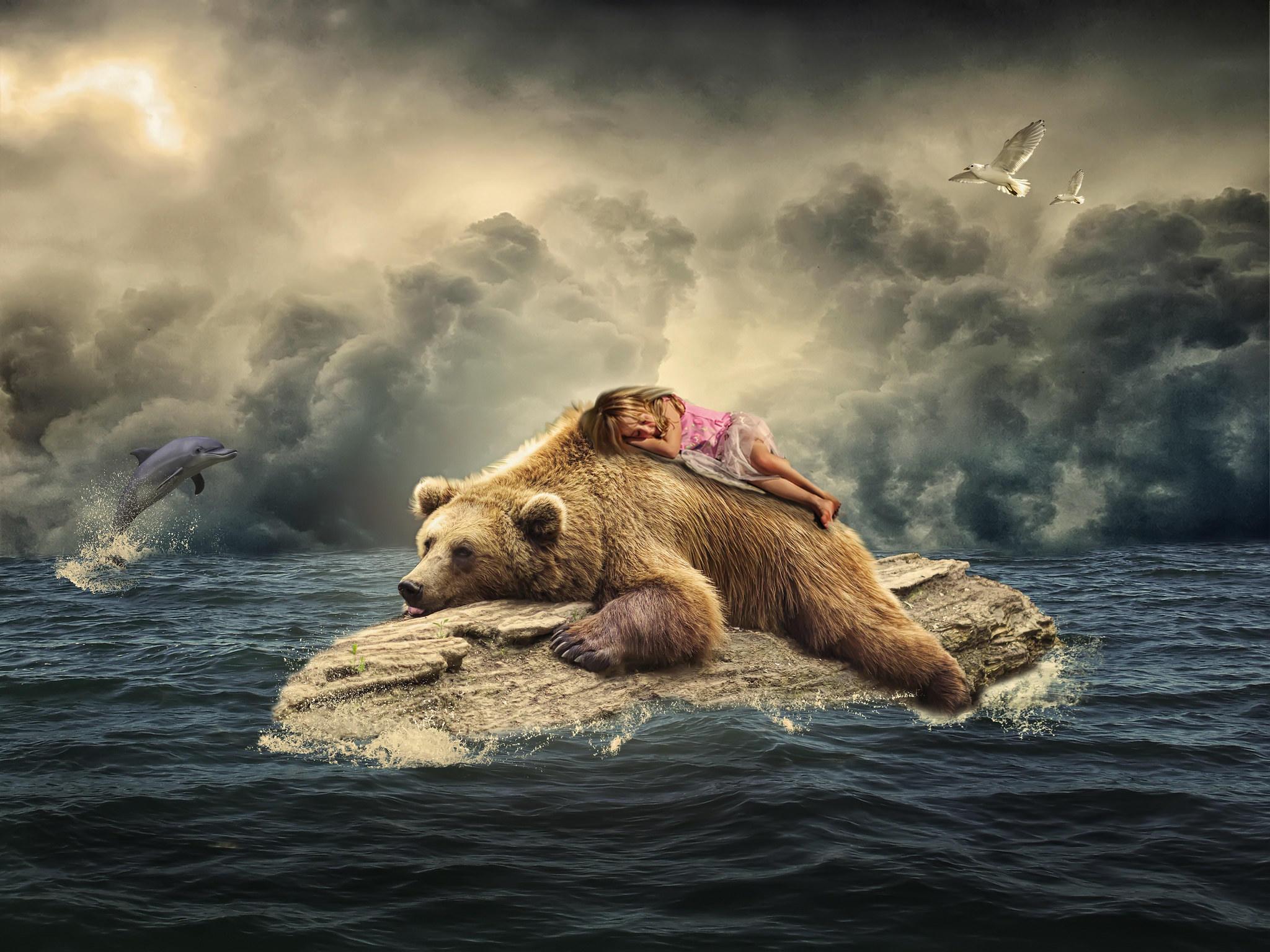 Обои море, бревно, медведь, девочка