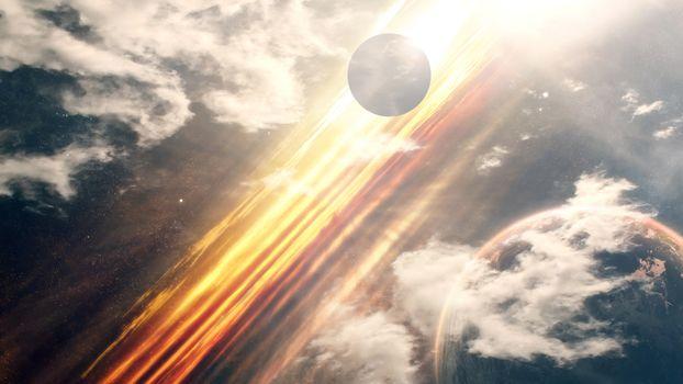 Фото бесплатно планеты, спутники, фантастический мир