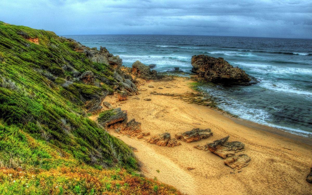 Фото бесплатно побережье, холмы, растительность - на рабочий стол
