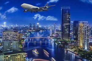 Бесплатные фото Бангкок,Тайланд,город,ночь,огни,самолёт,иллюминация