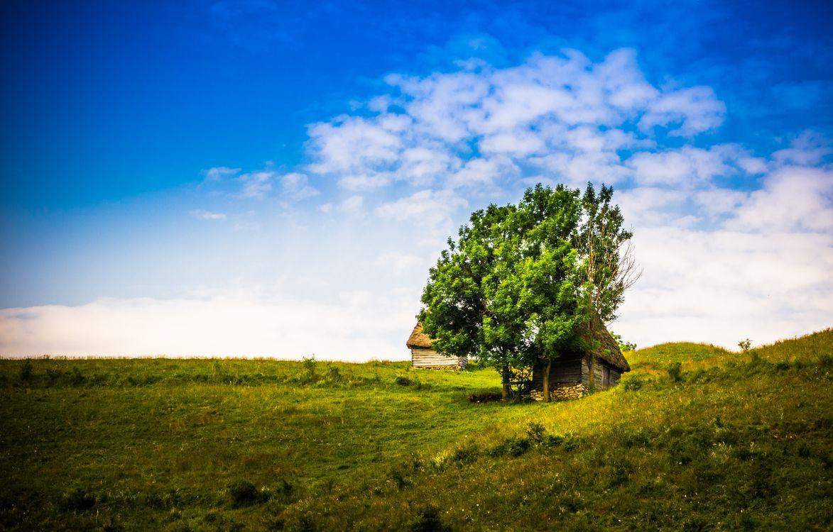 Free photo hills, mountains, small house - to desktop