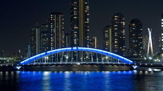 Фото бесплатно ночной мост, пролив, река