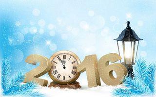 Бесплатные фото новогодняя картинка,2016,будильник,фанарь