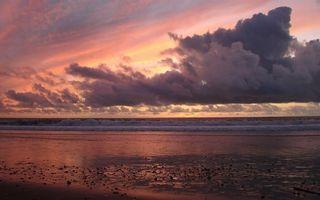 Бесплатные фото вечер,берег,море,волны,горизонт,небо,облака