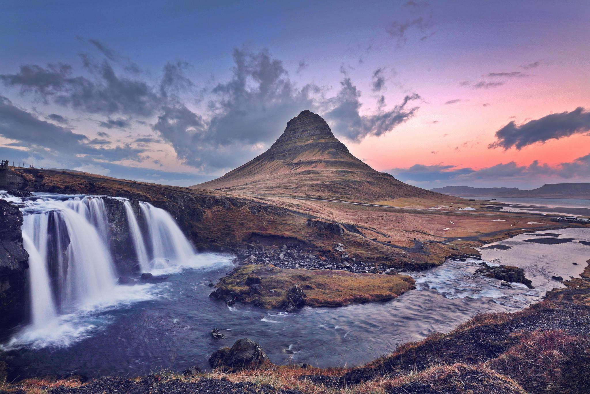 обои Waterfall, Kirkjufell, Iceland, Водопад картинки фото