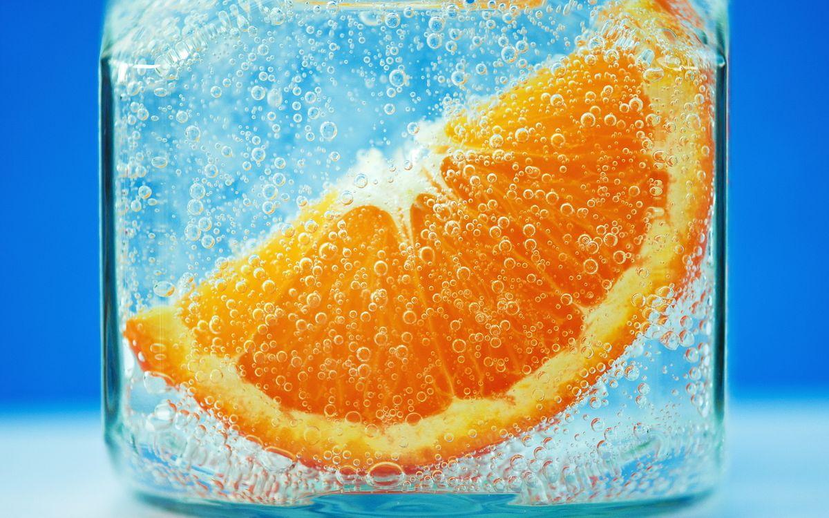 Фото бесплатно лед, пузырьки, апельсин, долька, разное