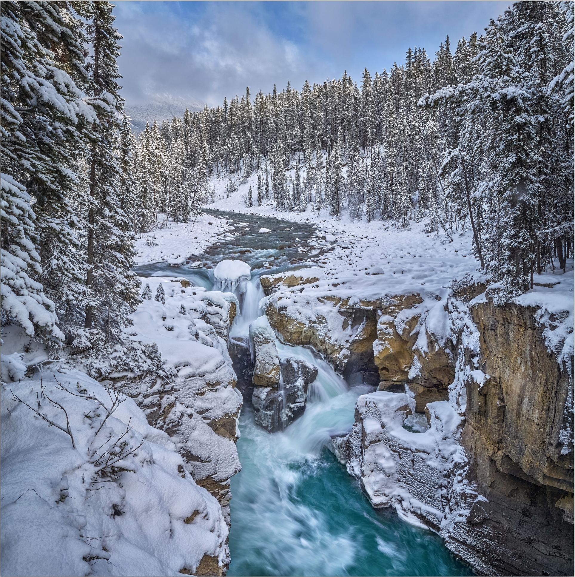 обои зима, река, скалы, водопад картинки фото