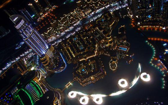 Заставки ночь,небоскреб,дома,здания,улицы,огни,подсветка,вид сверху