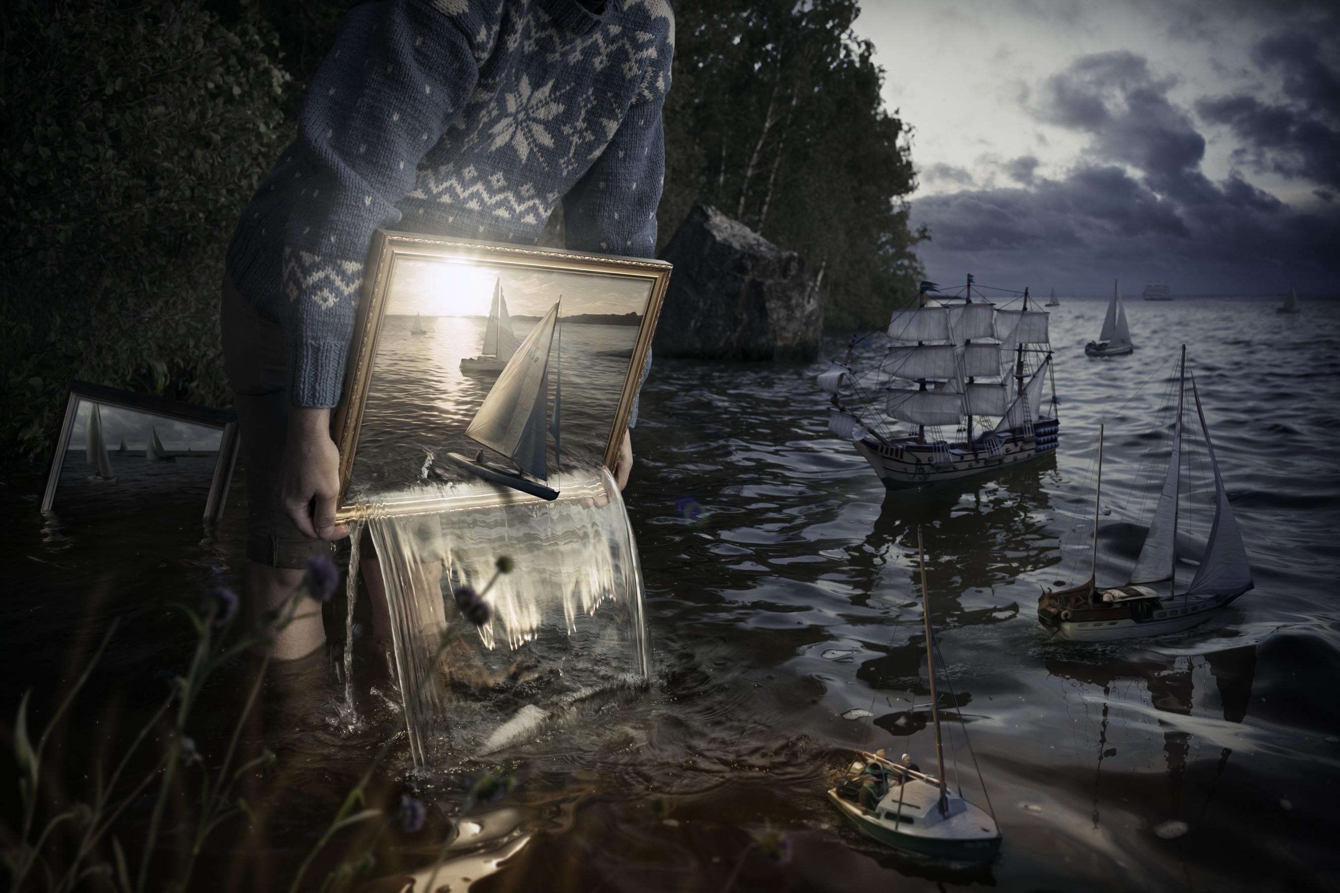 корабль, картина, зеркало
