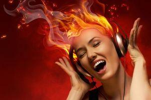 Фото бесплатно наушники, диско девушка, огонь