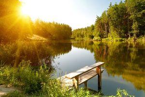 Фото бесплатно деревья, лодка, мостик
