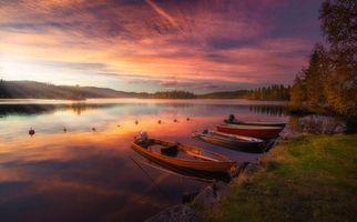 Бесплатные фото Рингерике,Норвегия,закат,река,лодки,пейзаж